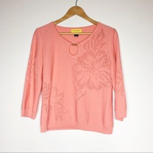 ST. JOHN Womens Coral Knit Sweater Top wool blend